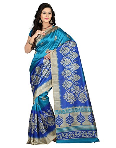 e-VASTRAM Women's Mysore Art Silk Saree (NS4B_Blue)-ETH