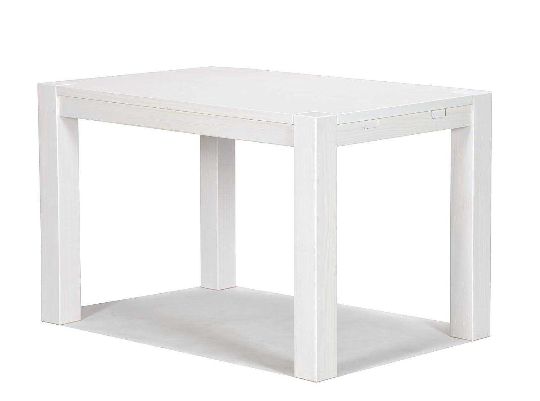 Esstisch weiss Rio Bonito 120x80cm, Pinie Massivholz Landhaus , Tisch Tisch Tisch Farbton Weiß Grain, Kanten im leichten Vintage Used Look, Optional erhältlich  passende Bänke und Ansteckplatten ceee80