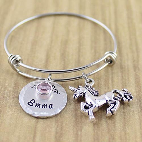 0975fb0aa2b6 ... Personalized Little Girls Unicorn Bracelet • Unicorn Bangle Bracelet  with Name   Birthstone • Fits Girls ...