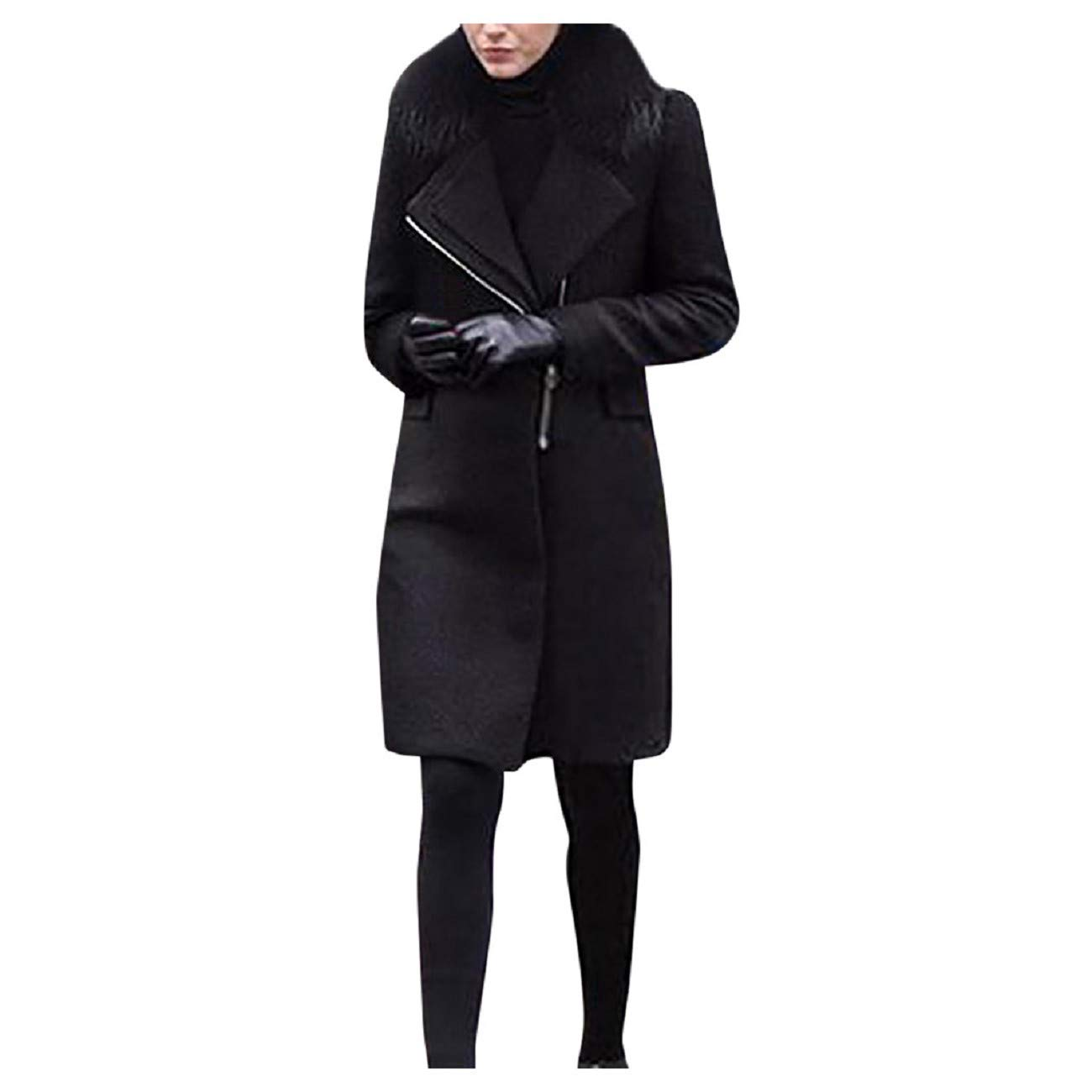 Reokoou Winter Lapel Faxu Wool Coat for Women Fur Collar Long Sleeve Trench Jacket Big Pocket Outwear Zipper Solid Tops Black by Reokoou