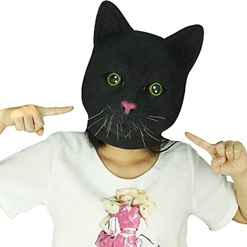 Novelty Latex Rubber Creepy Cat Head Mask Halloween Party Costume Decorations (Cat Dog Halloween)