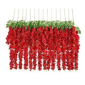 Huata 10PCS 3.2 Feet Artificial Flower Wisteria Vine Ratta Hanging Wedding Decor Garlands(Red) 26