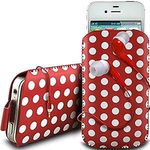 N4U Online - HTC One Mini PU cordón de cuero de diseño polka lengüeta de tracción antideslizante en caso de la bolsa con cierre rápido y 3.5mm Auriculares ergonómicos - Rojo