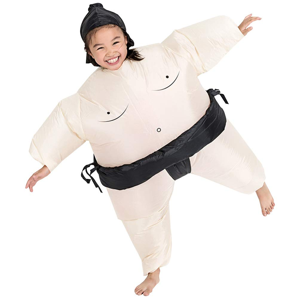 MORYSONG Inflatable Child Sumo Wrestling Costume Blow Up Suit Fancy Dress Up Brown