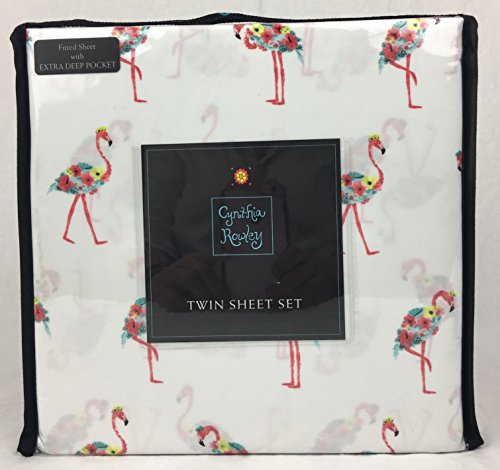 Care Exotic Bird (Cynthia Rowley Easy Care Microfiber Sheet Set Tropical Floral Pink Flamingos Multi Color on White (TWIN))