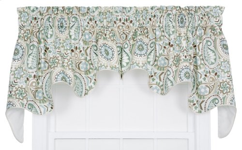 Ellis Curtain Paisley Prism Jacobean Floral Print Lined Duchess Valance, 100 by 30-Inch, Latte
