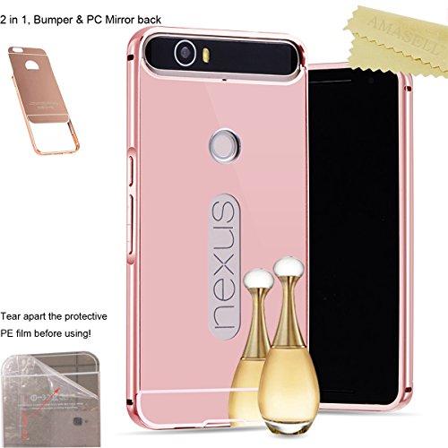 [1-Pack][2-IN-1]Google Nexus 6P Case, Huawei Nexus 6P Case, AMASELL Metal Bumper Frame + Ultra Slim Acrylic PC Hard Mirror Back Cover for Nexus 6P (Mirror Rose Gold)