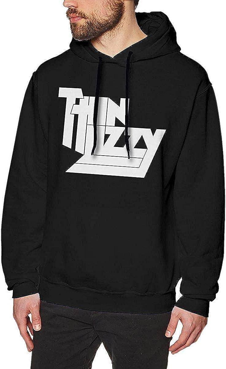 YCR4FC Mens Thin Lizzy Pullover Hoodie Hooded Sweatshirt Black XXX Large