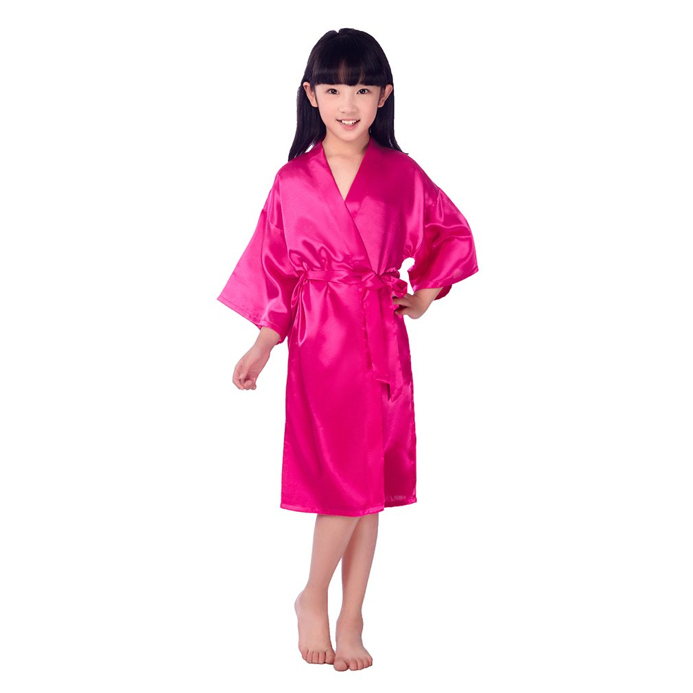 BOYANN Rhinestone Crystal Flower Girl Satin Kimonos Robes Junior Bridesmaid Sleepwear ZH5002P0243