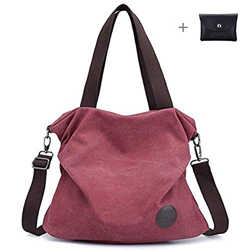e65d0bb03b99 kaichen Simple Style Women s Handbag Canvas Shoulder Crossbody Bag Hobo  Purse Large Casual Bag (Purple Coffee