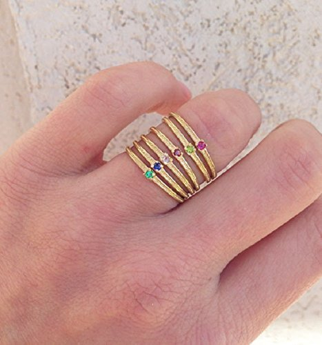 (Any Birthstone Ring - Thin Ring - Stacking Ring - Gold Stack Ring - Hammered Ring - Tiny Ring - Slim Band - Simple Ring - Gemstone)