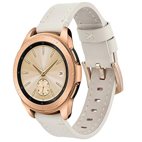 Koreda for Gear Sport Bands/Galaxy Watch (42mm) Bands, 20mm Softer Leather Bracelet Strap for Samsung Gear Sport Smartwatch & Samsung Galaxy Watch SM-R810/R815/Galaxy Watch Active 40mm R500 (Beige)