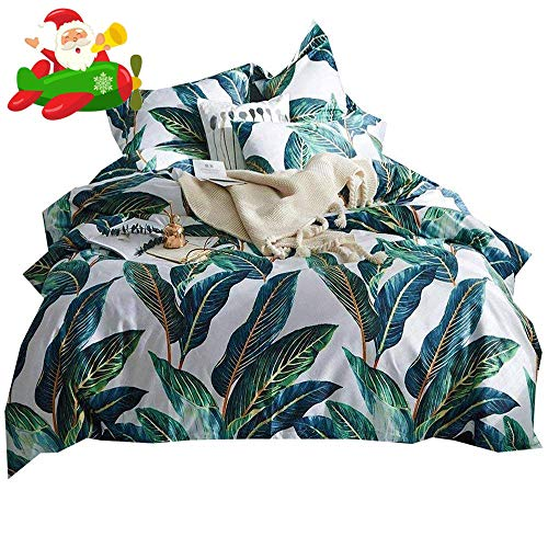 Green Floral Print (Leaves Print Floral Duvet Cover Set King Luxury Soft Vintage Bedding Set for Girls Teens Adults 3 Piece Egyptian Cotton Duvet Comforter Cover Set 1 Duvet Cover with 2 Pillowcases King Bed)