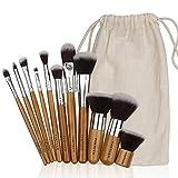 FANTCEN-Makeup-Brush-Set-Vintage-Makeup-Set-Soft-Set-of-11-Bamboo-Handle-Pro-Foundation-Kit-with-Gunny-Bag-Travel-Accessory