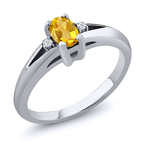 Gem Stone King 0.44 Ct 6x4mm Citrine White Topaz Gemstone Birthstone Women s 3-Stone Sterling Silver Ring Available 5,6,7,8,9