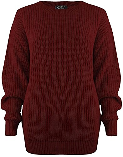 Mymixtrendz Women Ladies Winter Cable Knit Fishernet Loose Baggy Crew Neck Plus Size Jumper Top