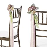 Ling's moment Dusty Rose Wedding Aisle Decorations Flowers Set of 8 Aisle Flowers with Tails for French Style Wedding Fall Wedding Decor