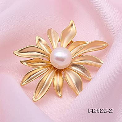JYX Pearl Brooch AAA Quality Round Freshwater Cultured Pearl Brooch Pin Wedding Bridal Scarf Party Wedding Dress Bride Bridal Jewelry Gifts Bridesmaid Brooch Pins for Women