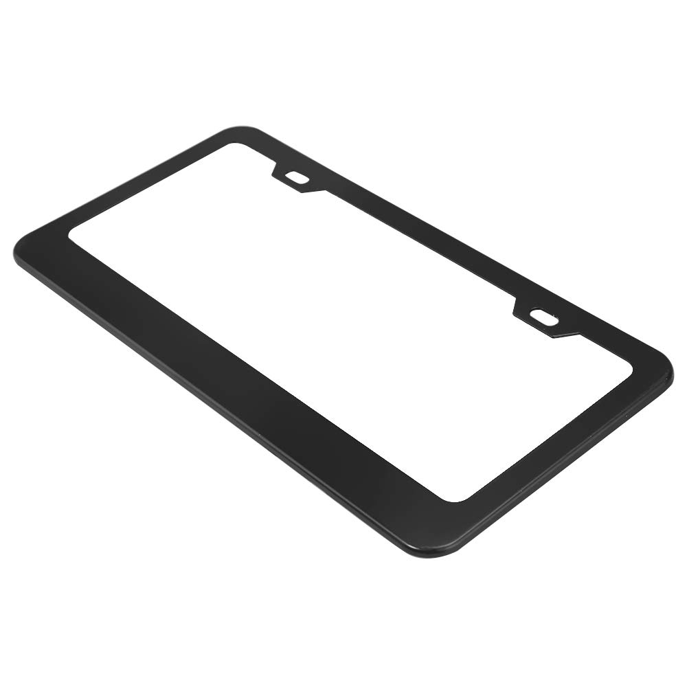 Matte Black Powder Coated Aluminum Car License Plate Cover Frame for Canada US Standard Vehicle with Screw Caps License Plate Frame Pack of 2
