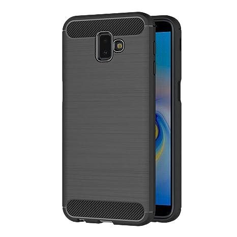 AICEK Funda Samsung Galaxy J6 Plus, Negro Silicona Fundas para Samsung J6+ Carcasa Galaxy J6+ Fibra de Carbono Funda Case (6,0 Pulgadas)
