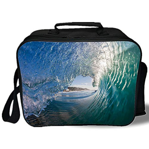 (Insulated Lunch Bag,Wave,Inside Hollow Crashing Morning Waves Water Details Energetic Summer Surf Image Decorative,Teal Light Blue,for Work/School/Picnic, Grey )