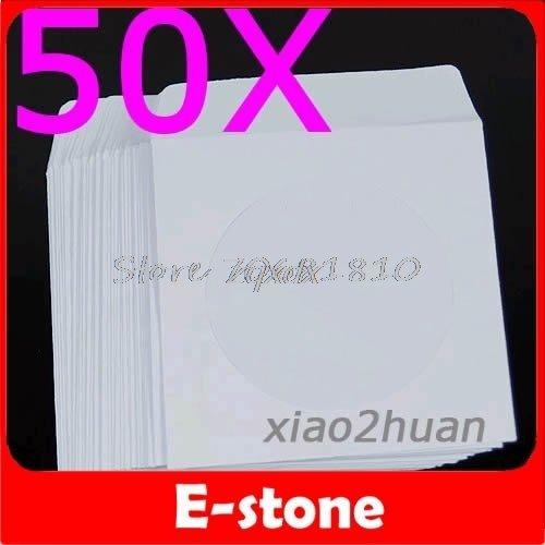 Price comparison product image PrinceShop - 50Pcs / Lot 50 Paper CD DVD Flap Sleeves Case Cover Envelopes 5inch Z17