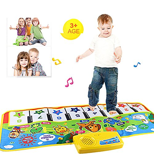 Music Play Mat,Toddlers Touch Singing Dancing Musical Mat - Educational Games Floor Gym Carpet Toy Gift for Baby Girls Boys Kids 1 2 3 4 5 6 Years Old,73 x 35CM (Multicolor) ()