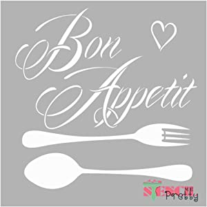 French Bon Appetit Decorative Kitchen Stencil - DIY Sign Best Vinyl Large Stencils for Painting on Wood, Canvas, Wall, etc.-XS (9