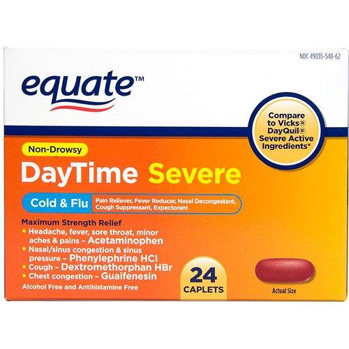Equate Non-Drowsy DayTime Severe Cold & Flu Medicine Caplets, 24 (Wal Mart Medicine)