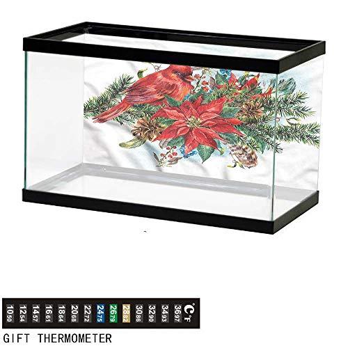 bybyhome Fish Tank Backdrop Cardinal,Festive Floral Bouquet,Aquarium Background,36