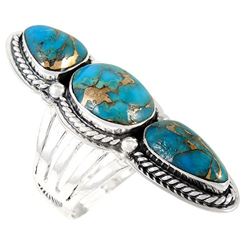 - Turquoise Ring in Sterling Silver 925 & Genuine Turquoise Size 6 to 11 (SELECT color) (Teal/Matrix Turquoise, 7)