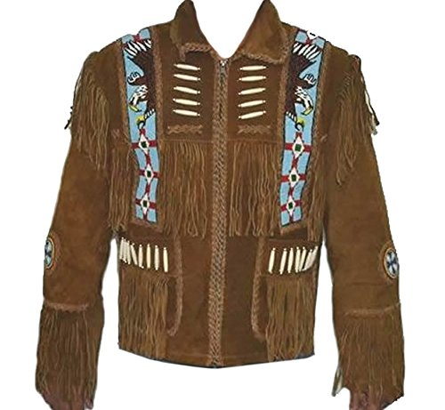 (Classyak Western Leather Jacket with Fringes for Men - A Grade Suede Leather (M))