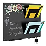 MyGift Metal Wall Mounted Chalkboard & Mail Sorter with Key Hooks