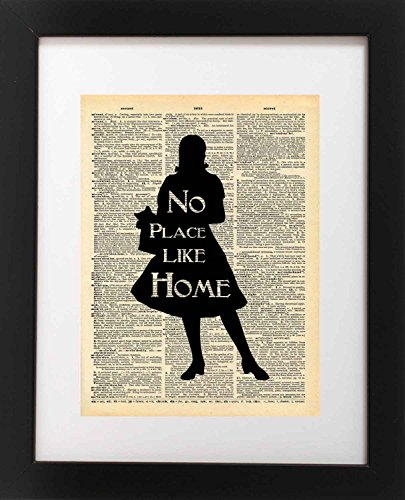 (Wizard of Oz Art Quote - Dorothy No Place Like Home Quote - Vintage Dictionary Print 8x10 inch Home Vintage Art Abstract Prints Wall Art for Home Decor Wall Decor Living Room Bedroom Ready-to-Frame)