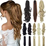 18'' 21'' Straight Curly Synthetic Clip in Claw Ponytail Hair Extension Synthetic Hairpiece 150g with a jaw/Claw Clip