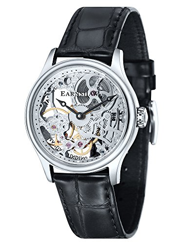 Thomas Earnshaw Men's 'BAUER MACHANICAL SKELETON' Mechanical Hand Wind Stainless Steel and Leather Dress Watch, Color:Black (Model: ES-8049-01)