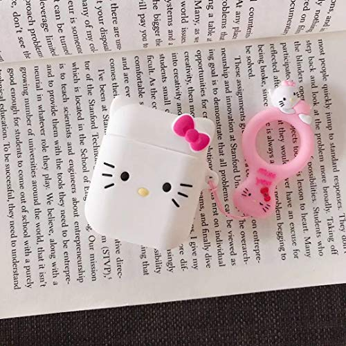(Best_Gift0 Airpods Case, Cute Cartoon Hello Kitty Soft Silicone Protective Shockproof Case Cover Skin with Ring Buckle Holder for Apple Airpods Charging Case 1 & 2 (#1 Hello Kitty))