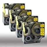 NEOUZA 18054 S0718290 Black on Yellow Heat-Shrink Tube Compatible for DYMO Rhino IND Label Tape 3/8'' x 5' (4 Packs)
