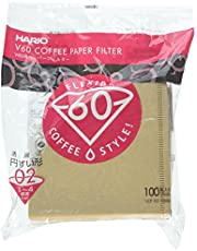 HARIO VCF-02-100M V60 Coffee Paper Filter, 02 Type, Natural Brown (100 Pieces)