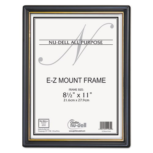 Nu-Dell Products - Nu-Dell - EZ Mount Document Frame, Plastic, 8-1/2 x 11, Black - Sold As 1 Each - Frame has gold accents. - Suitable for photographs, certificates or awards. - Protective plastic face is unbreakable. - Frame mounts on wall. -