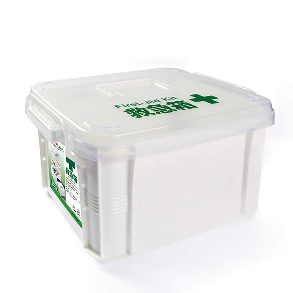 MXueei Double Layer Medical Box, Plastic Transparent Box First Aid Kit, Pill Container Case