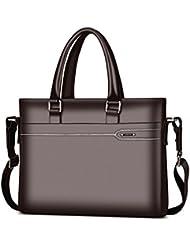 LAORENTOU Men Leather Briefcase Laptop Handbag Messenger Business Bags (BROWN)