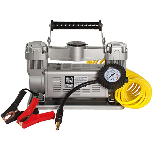 Master Flow MF-1089 Silver Tire Inflator, 12 Volt 120 PSI Twin Air Compressor for Trucks, SUVs, RVs & Trailers by MasterFlow