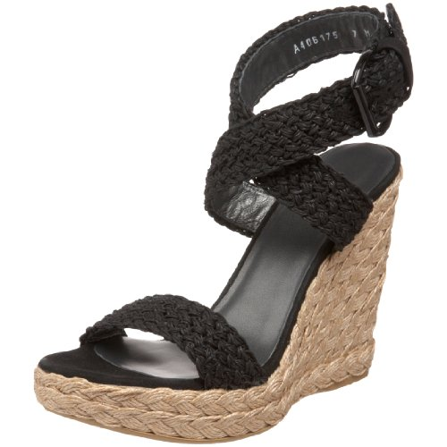 Stuart Weitzman Women's Alex, Nero Crochet, 9 M - Wedge Platform Shoes Weitzman Stuart