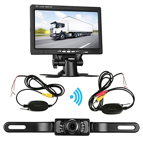 LeeKooLuu Backup Camera Wireless and 7' TFT Monitor Kit Reverse camera 9V-24V Parking system for Car/Vehicle/Truck/Van/Camper,Waterproof Night Vision Distance Scale Lines