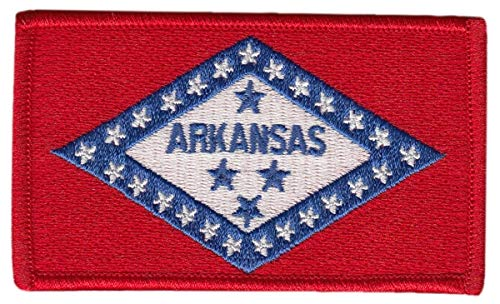 "Arkansas State Flag Patch, Full Color, Size 3-3/8 x 2"" US Flag Logo t Shirt Jacket Costume Uniform Patch - Sold by Uniform World"
