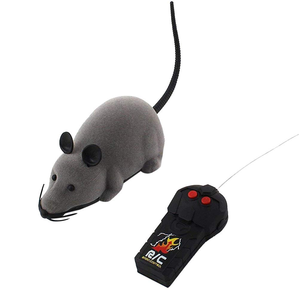 DICPOLIAC Novelty Gift Toys,RC Funny Wireless Electronic Remote Control Mouse Rat Pet Toy for Cats Dogs Pets Kids (Gray)