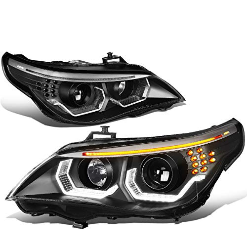 DNA Motoring HL-3D-E6003-BK Pair LED Turn Signal+3D U-Halo Projector Headlight Replacement
