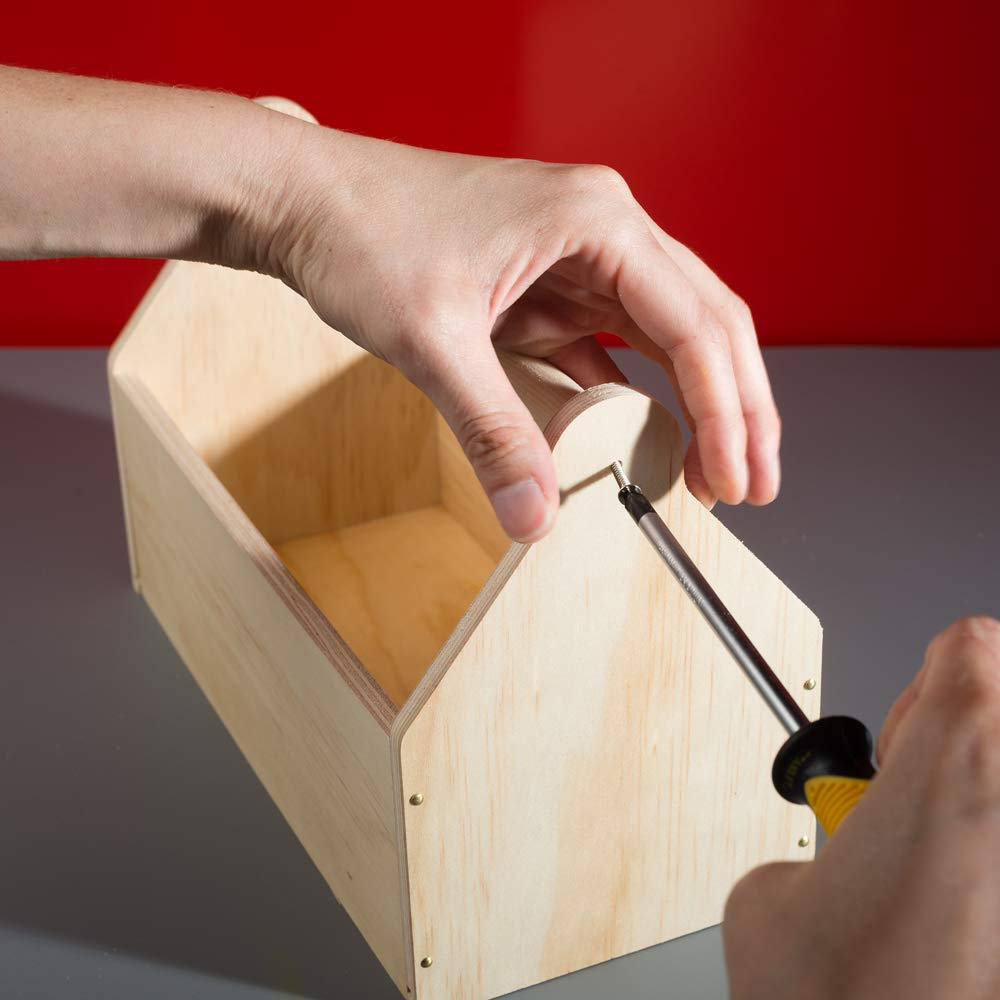 Stanley Jr DIY Toolbox Kit for Kids - Easy to Assemble Wood Craft Toolbox - Build A Tool Box for Kids - Paint & Brushes Included by Stanley Jr (Image #5)