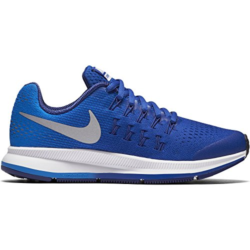NIKE Boy's Zoom Pegasus 33 (GS) Running Shoe Game Royal/Metallic Silver/Photo Blue Size 4 M US by NIKE